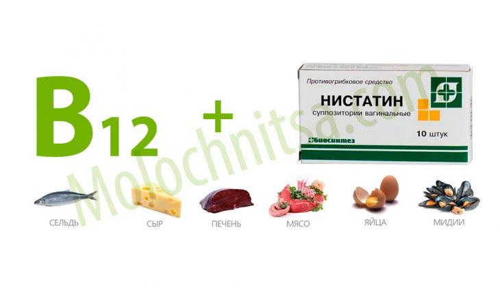 Витамин в12 и Нистатин от молочницы у грудничков